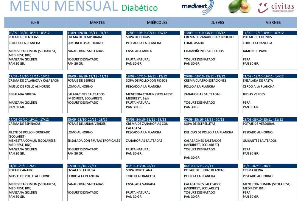 Menú Diabético Septiembre a Diciembre 2018