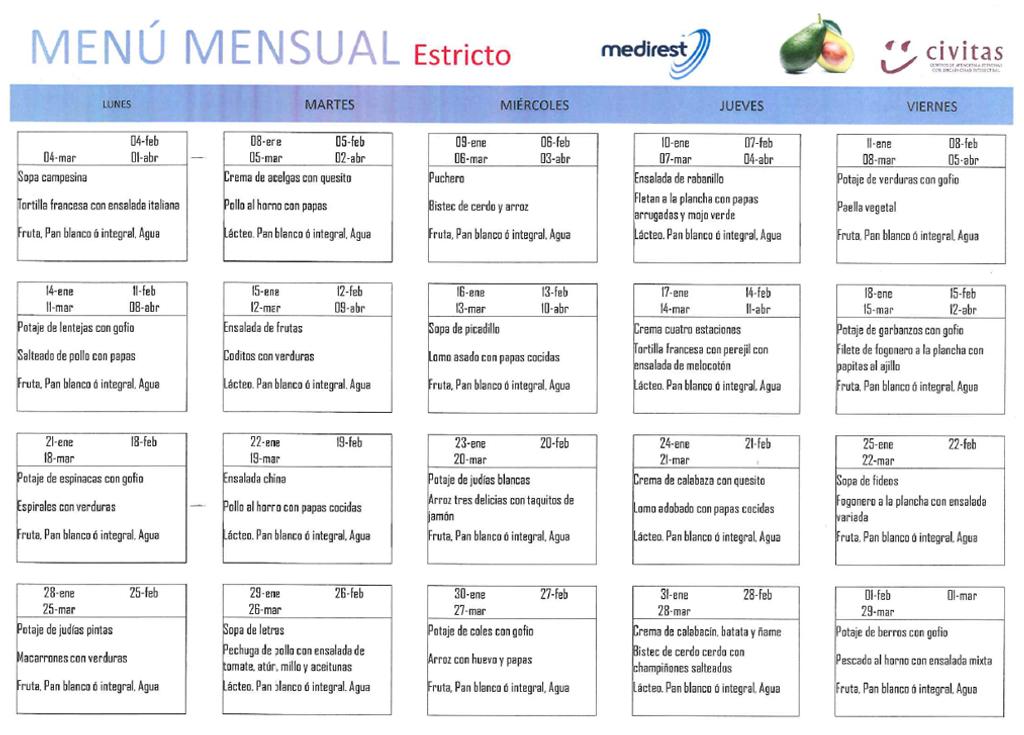Menú Estricto – Enero a Abril 2019